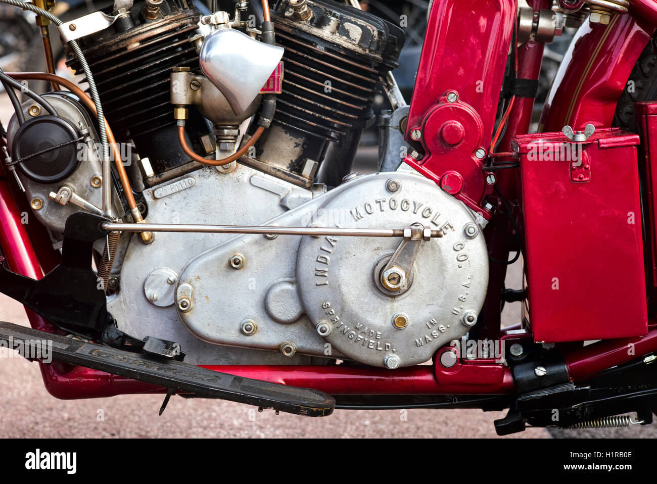 Engine Casing Stock Photos Images Alamy 1948 Indian Motorcycle Diagram 1924 550cc Scout Classic American At Vmcc Banbury Run Oxfordshire