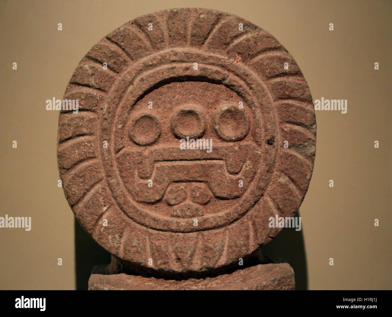 America. Mexico. Teothihuacan. Stela. 3rd-7th century. Stone. - Stock Image
