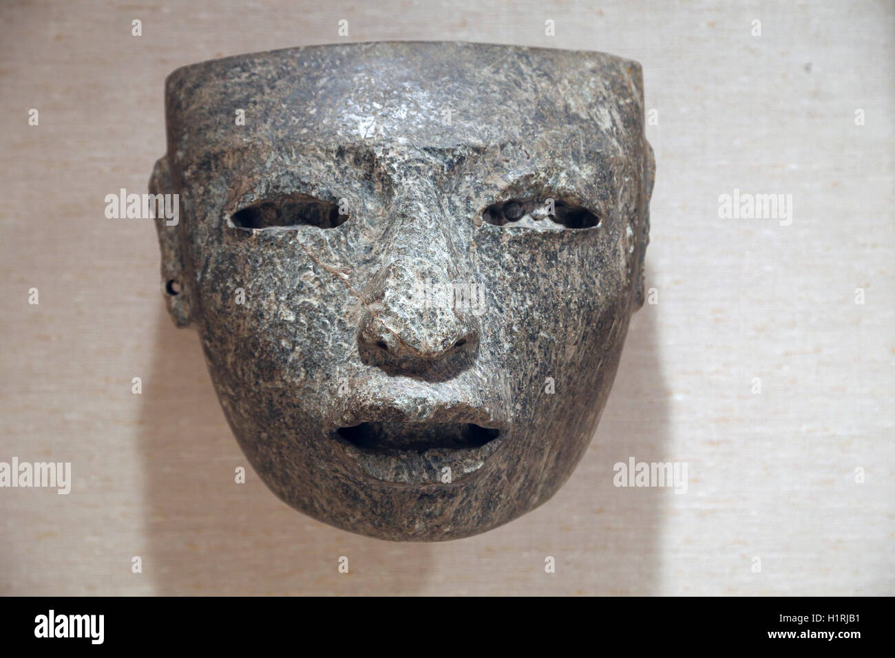 America. Mexico. Teothihuacan. Mask. 3rd-7th century. Greenstone. - Stock Image