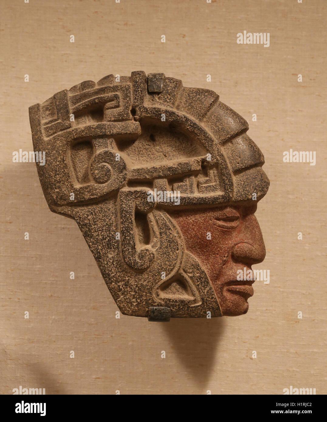 America. Mexico. Veracruz. Warrior head Hacha. 6th-8th century. Stone, pigment. Mexico. - Stock Image