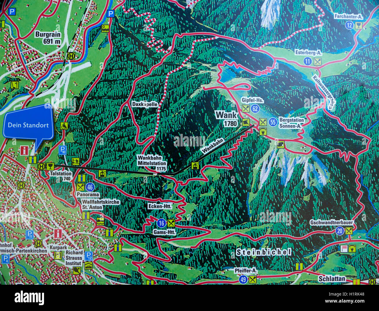 Map Of Germany Mountains.The Alps Germany Garmisch Partenkirchen Mount Wank Mountain Map