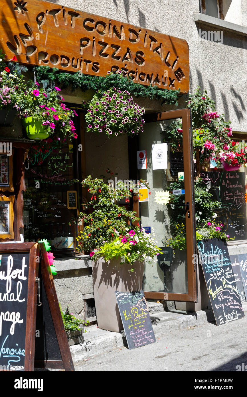 Entrance of regional goods store in Aussois, France - Stock Image