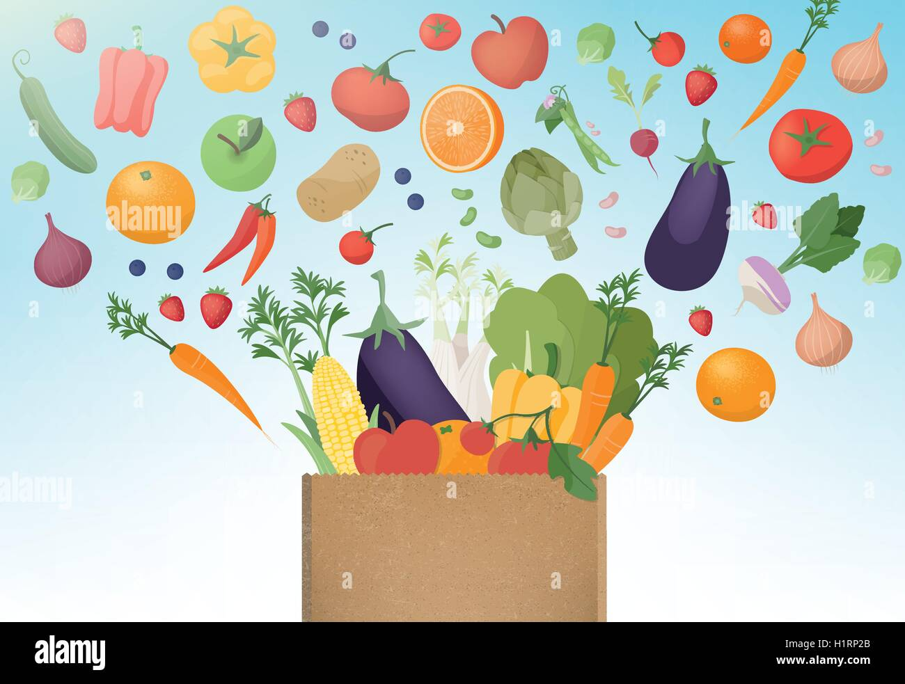 Explosion of tasty freshly harvested vegetables in a paper shopping bag, healthy eating and agriculture concept Stock Vector