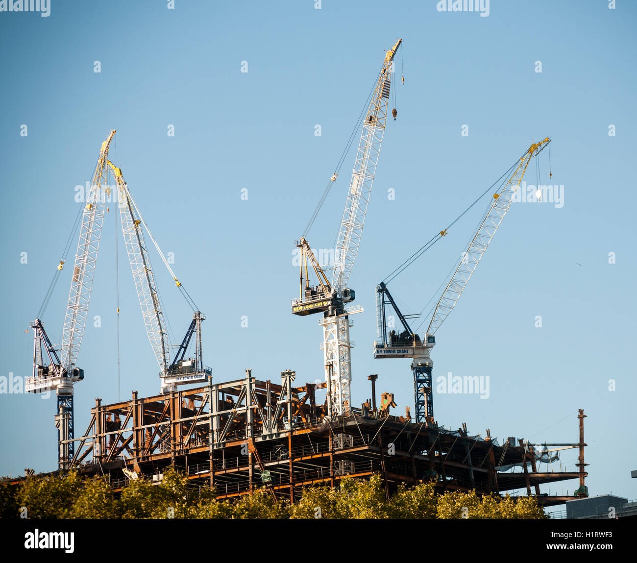 Cranes being used in the construction of the 30 Hudson Yards project on the west side of New York on Monday, September - Stock Image