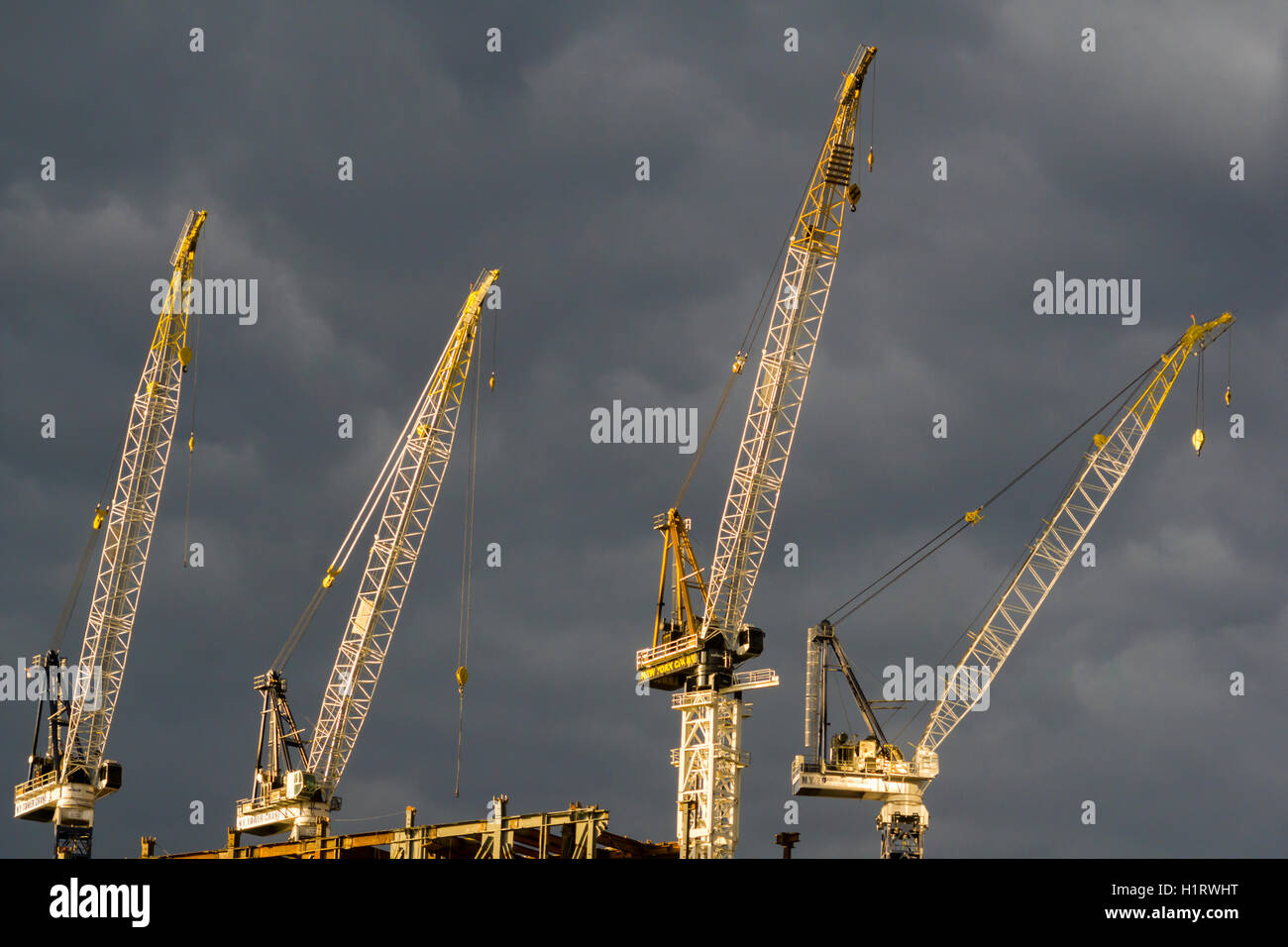 Cranes being used in the construction of the 30 Hudson Yards project on the west side of New York on Wednesday, Stock Photo
