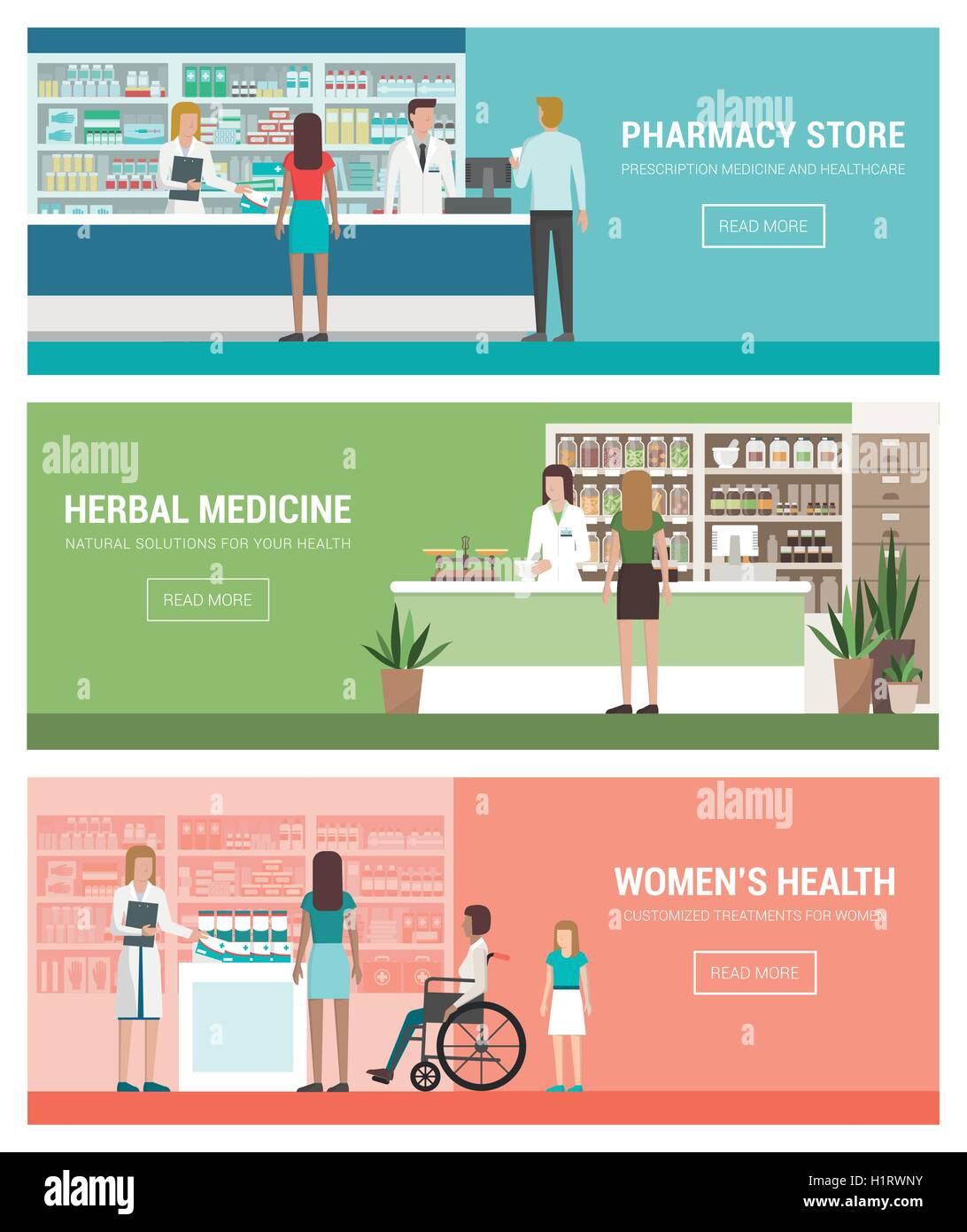 Healthcare Pharmacy And Medicine Banner Set With Doctors And Stock Vector Image Art Alamy
