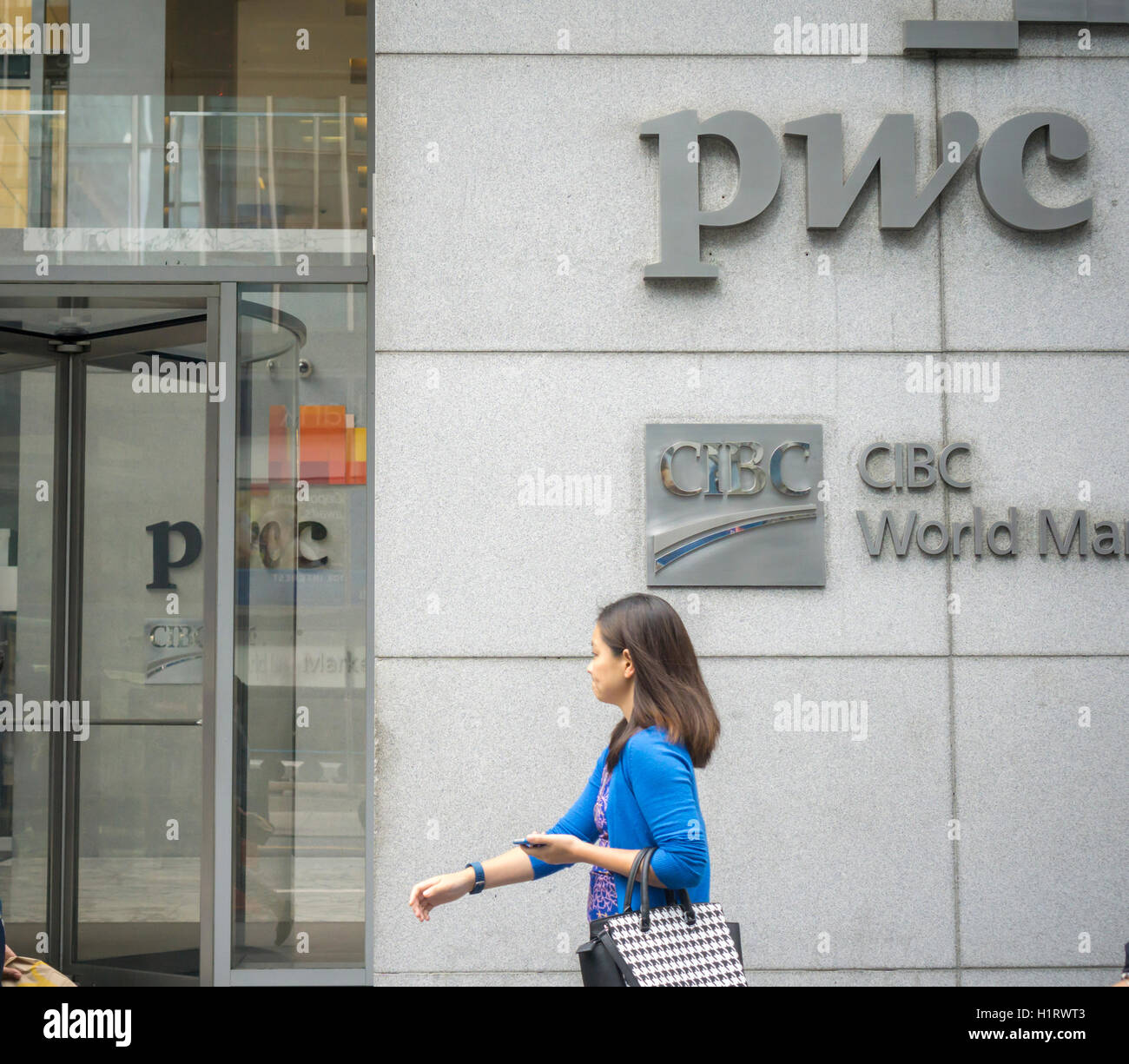The New York offices of PricewaterhouseCoopers (PWC), the multinational accounting firm, on Madison Avenue on Friday, - Stock Image