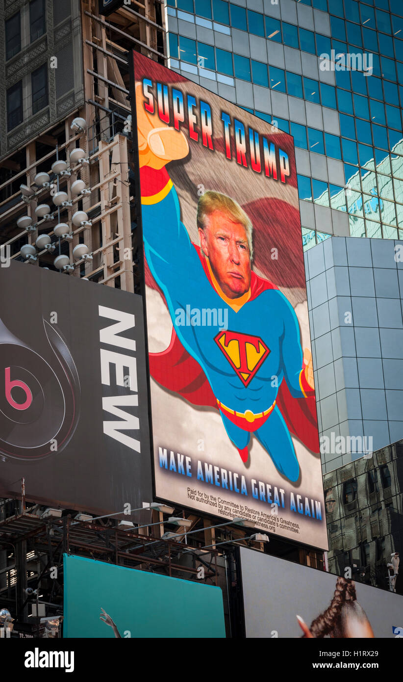 An electronic billboard promoting the Donald Trump presidential campaign in Times Square in New York on Thursday, - Stock Image