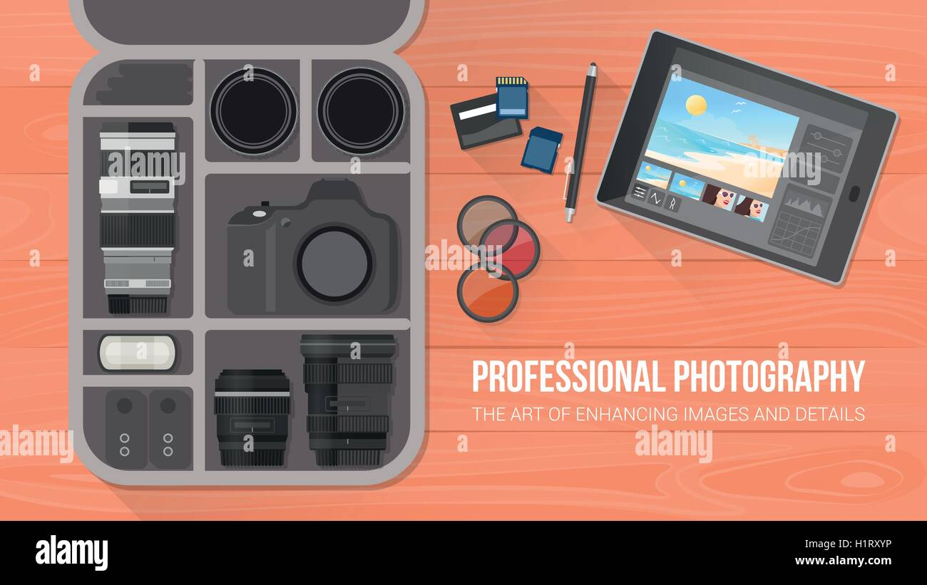 Photographer's bag with professional equipment, flat lay, banner with copy space - Stock Vector