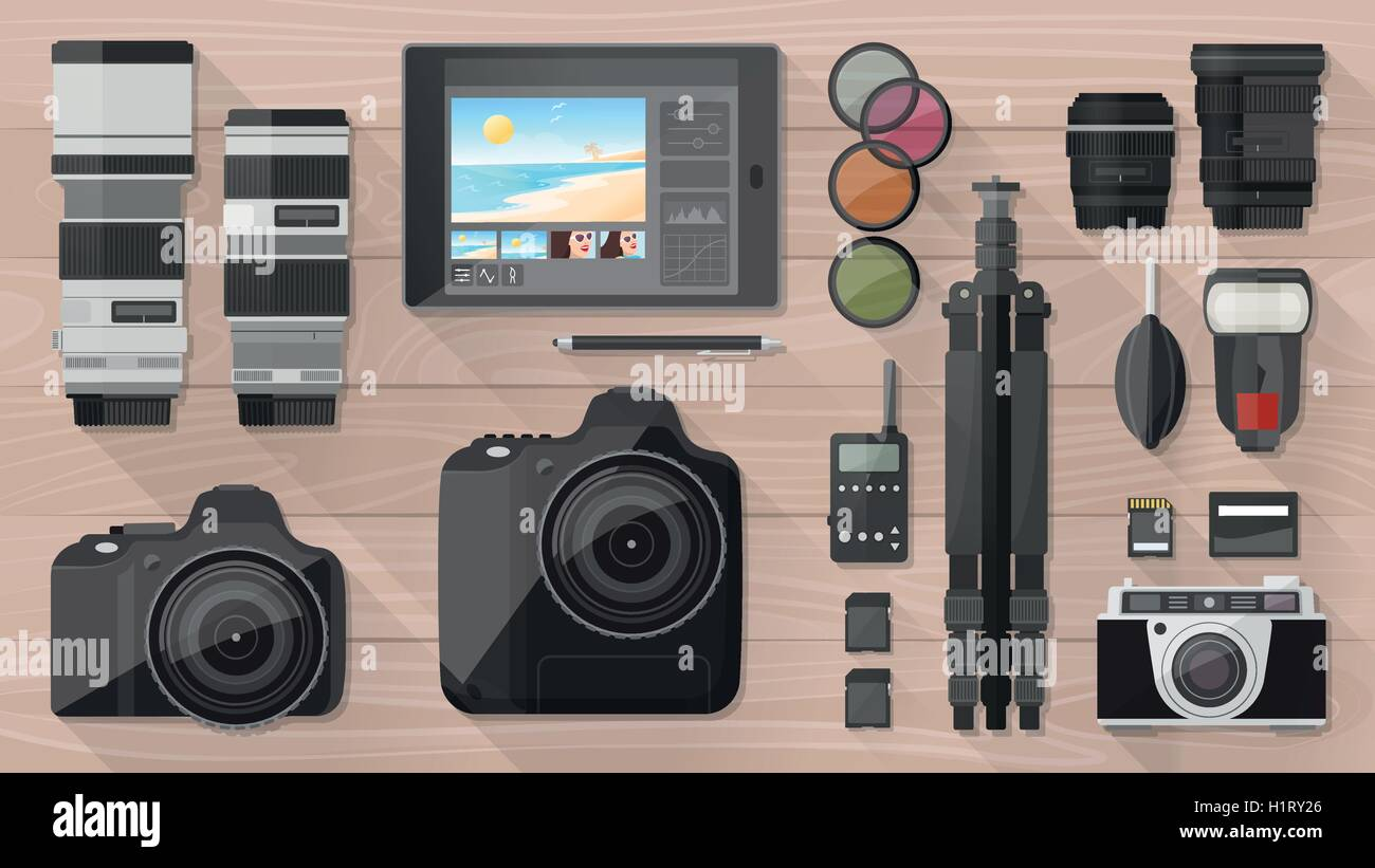Professional photographer equipment on a desk, shooting and photo editing concept, flat lay - Stock Vector