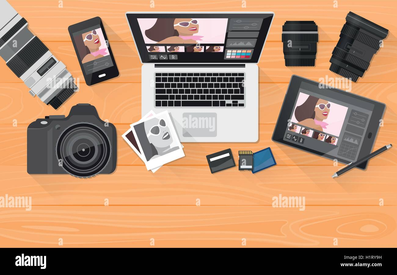 Professional photographer equipment on a desk, photo editing and shooting concept, banner with copy space - Stock Vector
