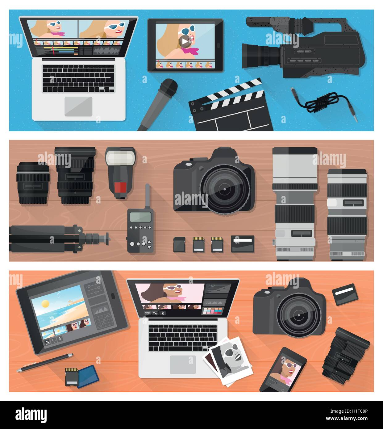 Photograph, video making and photo editing banner set with professional equipment, laptops and camera, flat lay - Stock Vector