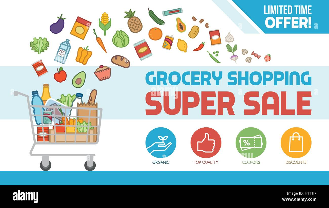 Grocery discount shopping banner with shopping cart filled with food and products, offers and sales concept - Stock Vector