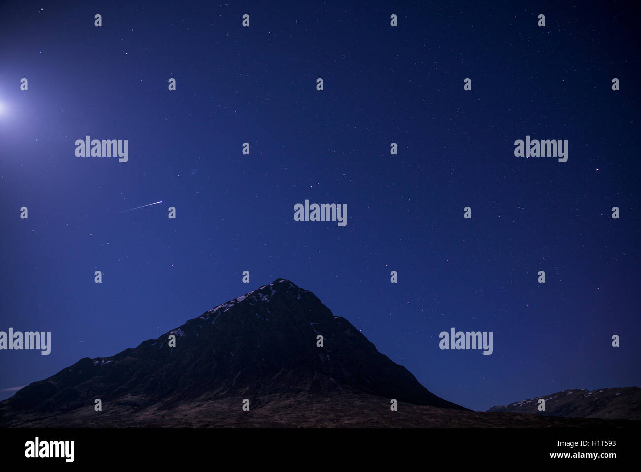 Stars with moon and shooting star - Stock Image