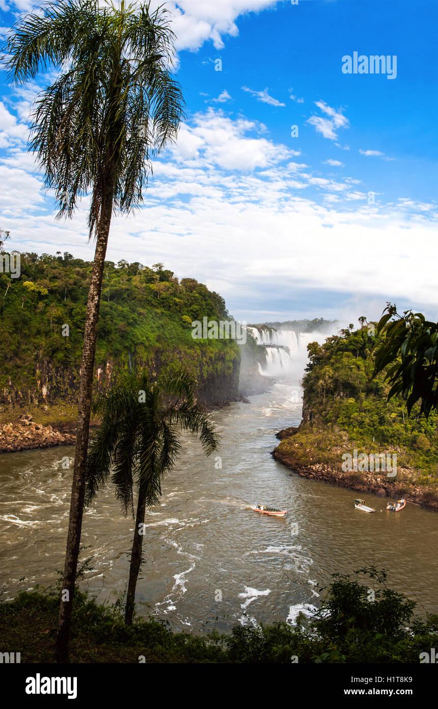 Iguazu Falls (Cataratas del Iguazu), waterfalls of the Iguazu River - Stock Image