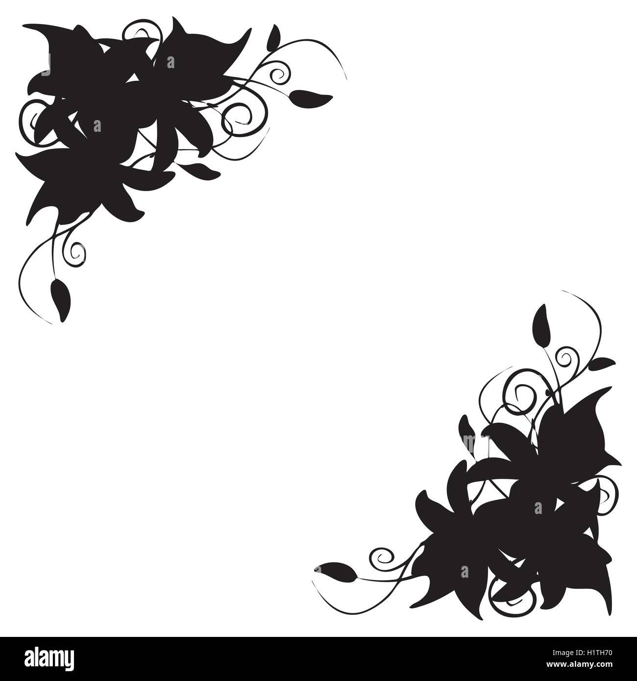 Lily corner ornament - Stock Vector
