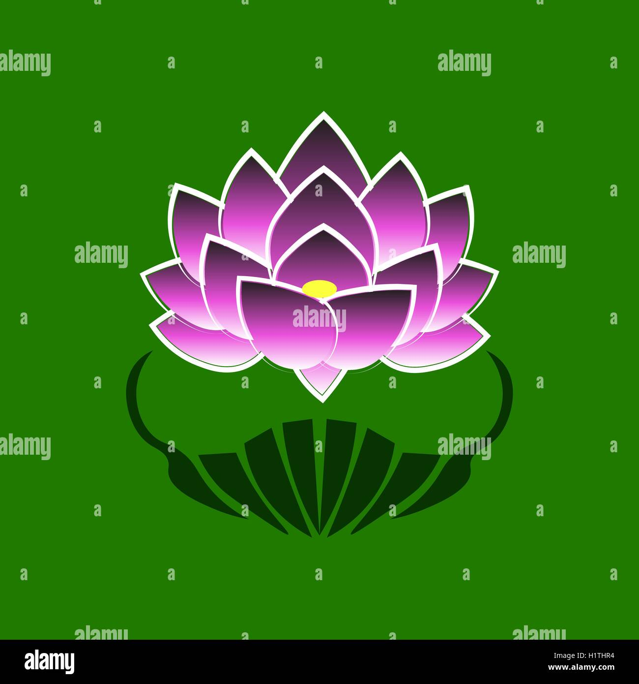 Purple Stylized Image Of A Lotus Flower On A Green Background The