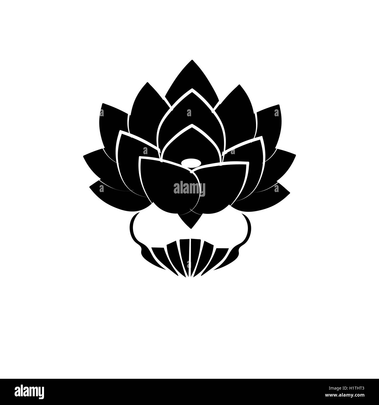 Black Stylized Image Of A Lotus Flower On A White Background The