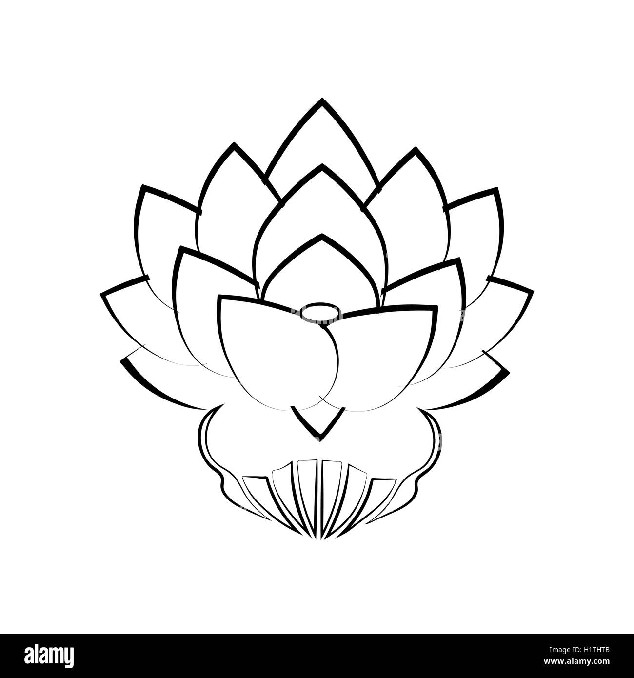 A lotus flower stock vector images alamy black stylized image of a lotus flower on a white background tattoo the symbol izmirmasajfo