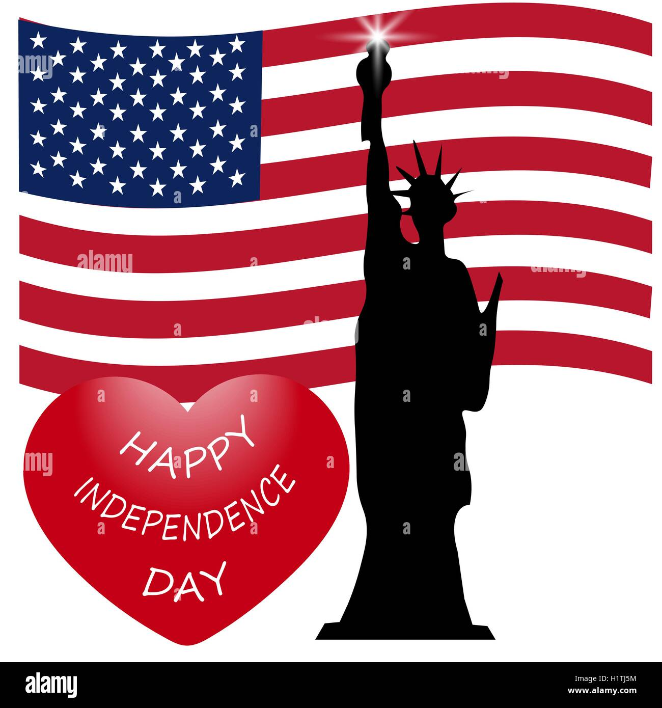 American Independence Day Us Symbols Vector Illustration Stock
