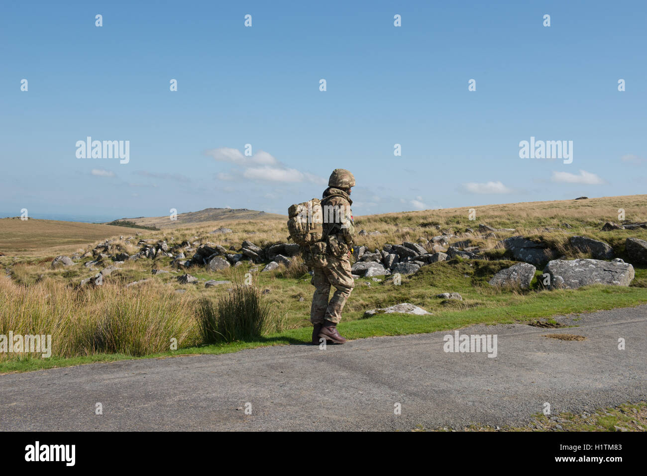 Soldiers from the British Army on a Training Exercise on Okehampton Range,Dartmoor National Park,Devon,England,UK - Stock Image