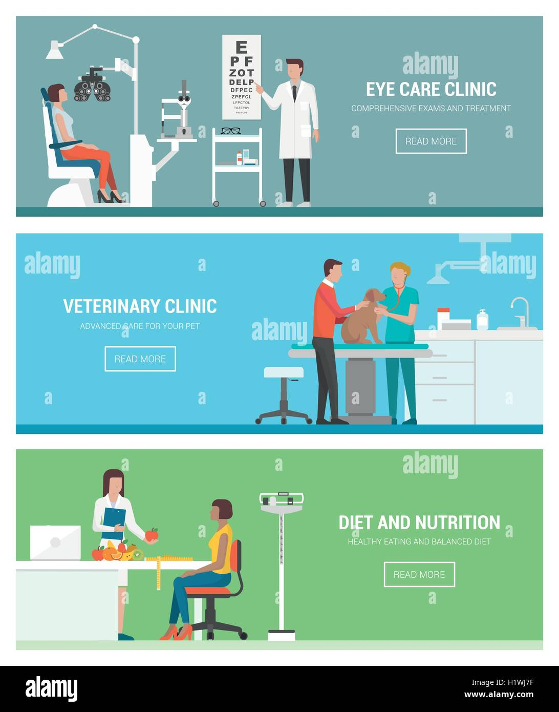 Healthcare and clinics banners set: optician and eye examination, veterinary animal clinic and dietitian with patient - Stock Image