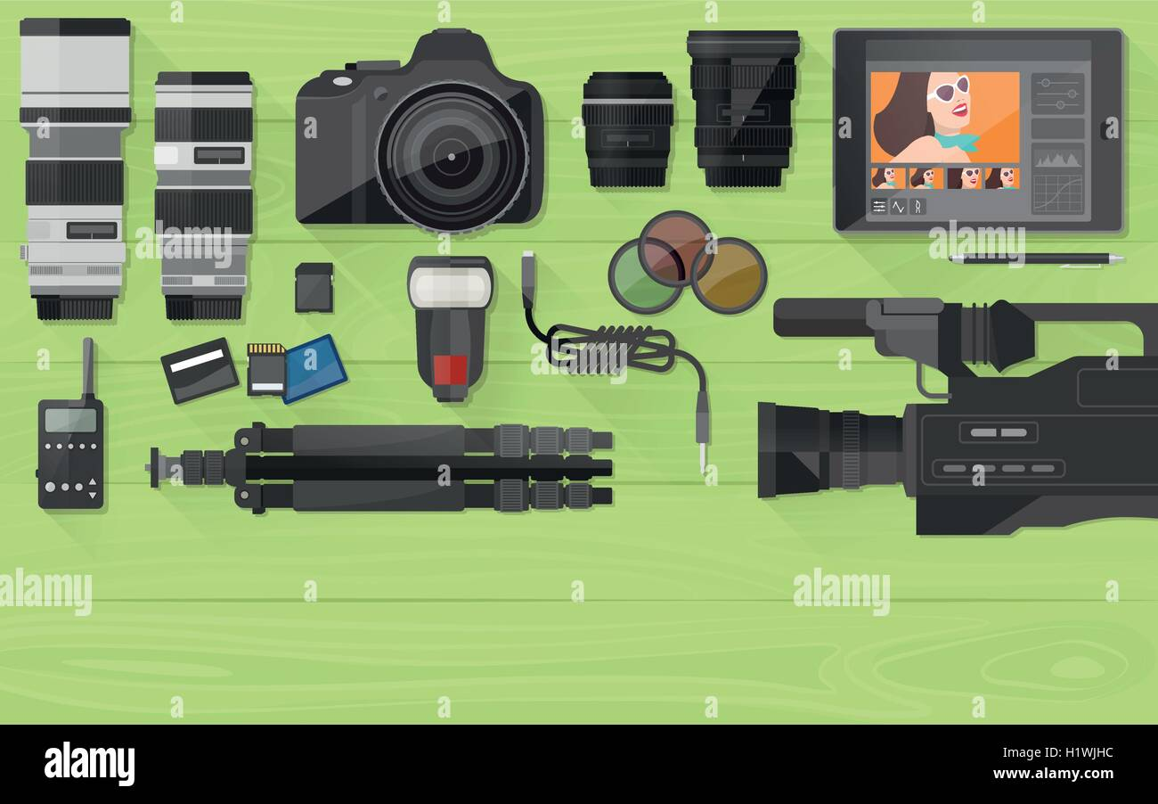Video making, photography and post production banner with professional equipment, flat lay - Stock Vector
