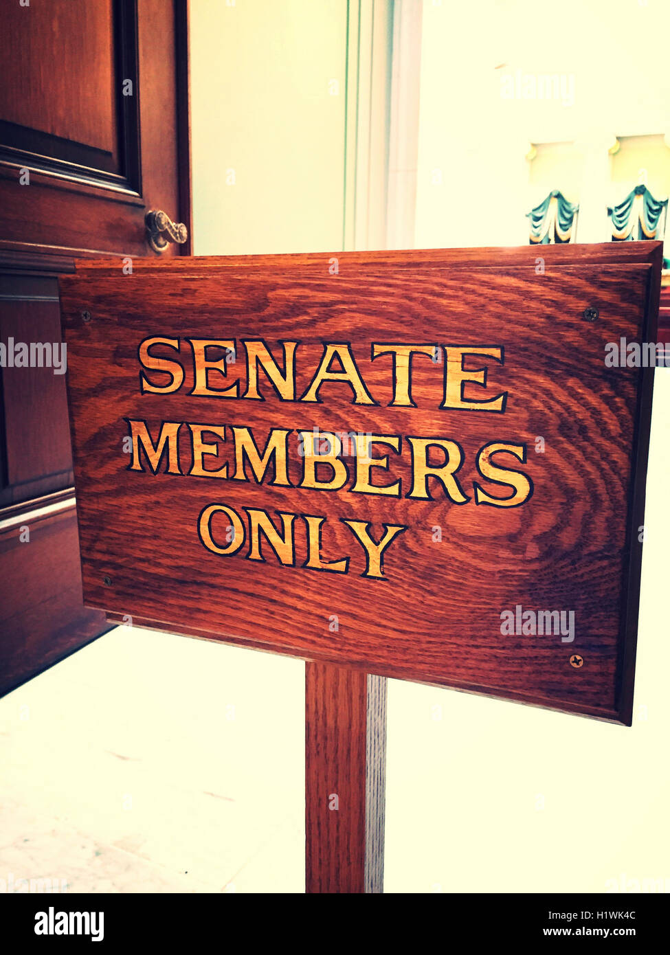 'Senate Members Only' Sign, State House in Providence, Rhode Island, USA - Stock Image