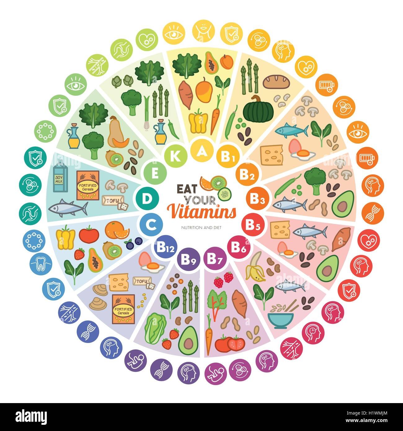 Vitamin food sources and functions, rainbow wheel chart with food icons, healthy eating and healthcare concept - Stock Image