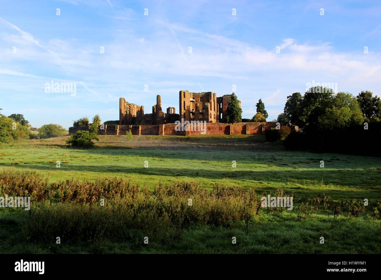 Kenilworth Castle in the morning light. - Stock Image