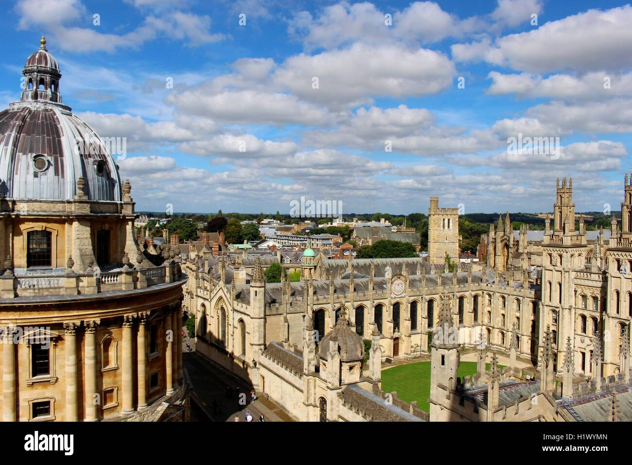 Panoramic views of Oxford from the top of St Mary's Church. - Stock Image