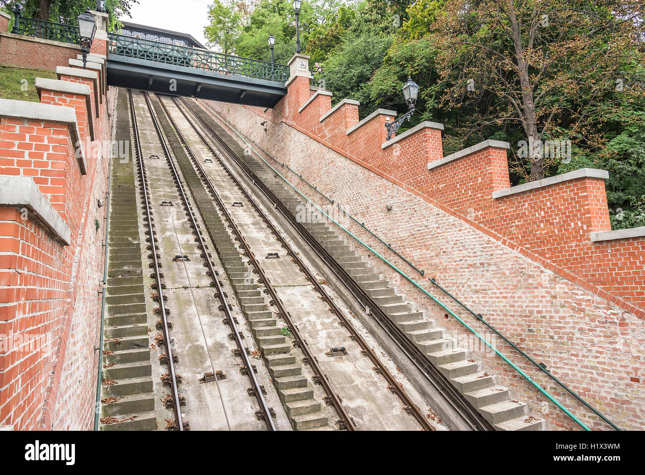 Rails cable car on Castle Hill in Budapest, Hungary. Stock Photo