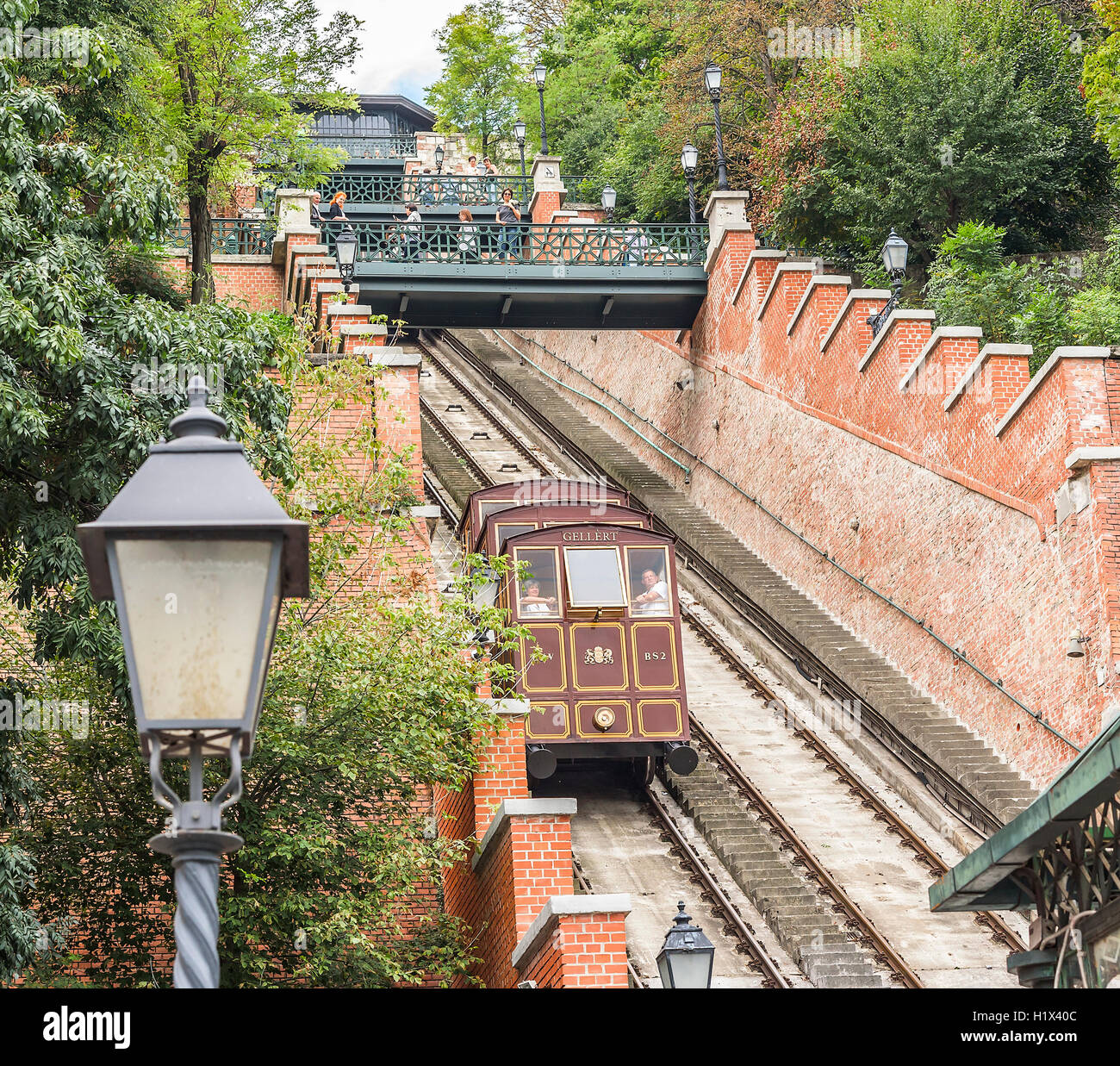 BUDAPEST, SEPTEMBER 18: Modular cabins cable car on Castle Hill on September 18, 2016 in Budapest, Hungary. Stock Photo