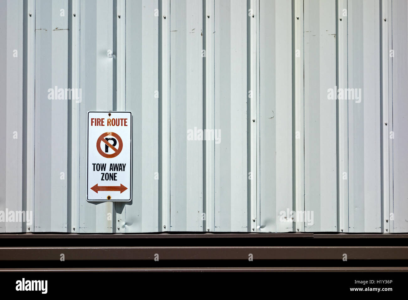 Fire Route No Parking sign Stock Photo