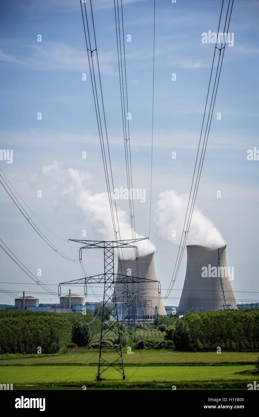 Nuclear power plant of Nogent-sur-Seine, Aube, France. - Stock Image