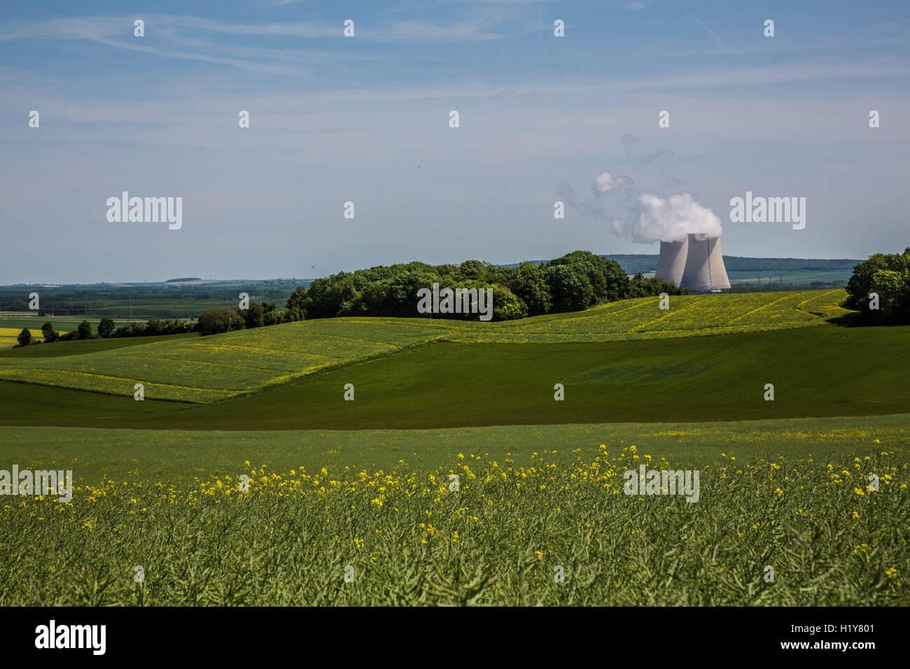Nuclear power plant of Nogent-sur-Seine, Aube, France. Stock Photo
