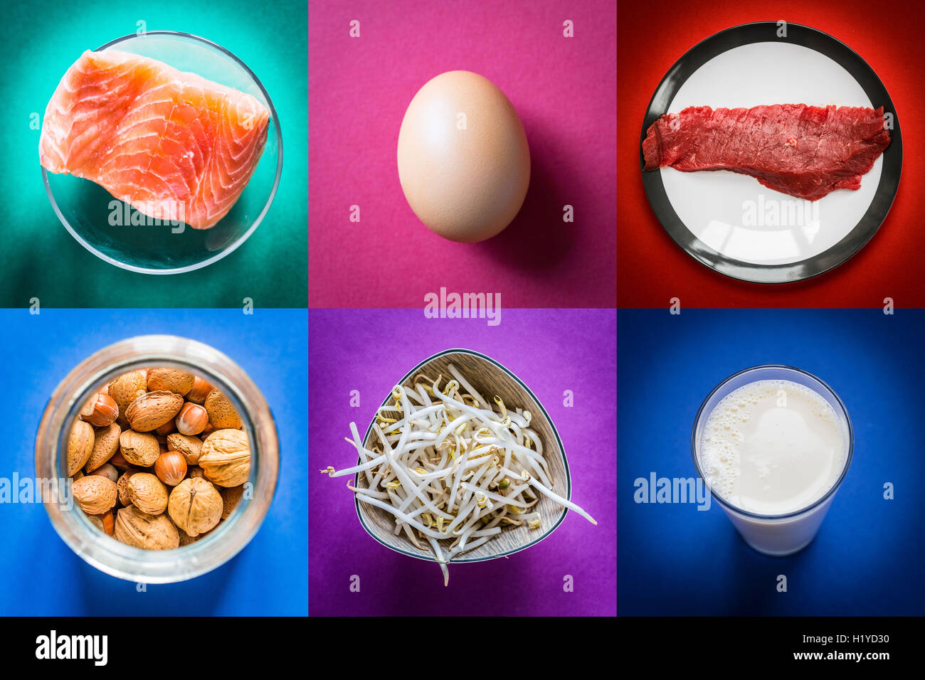 Protein-rich foods. - Stock Image