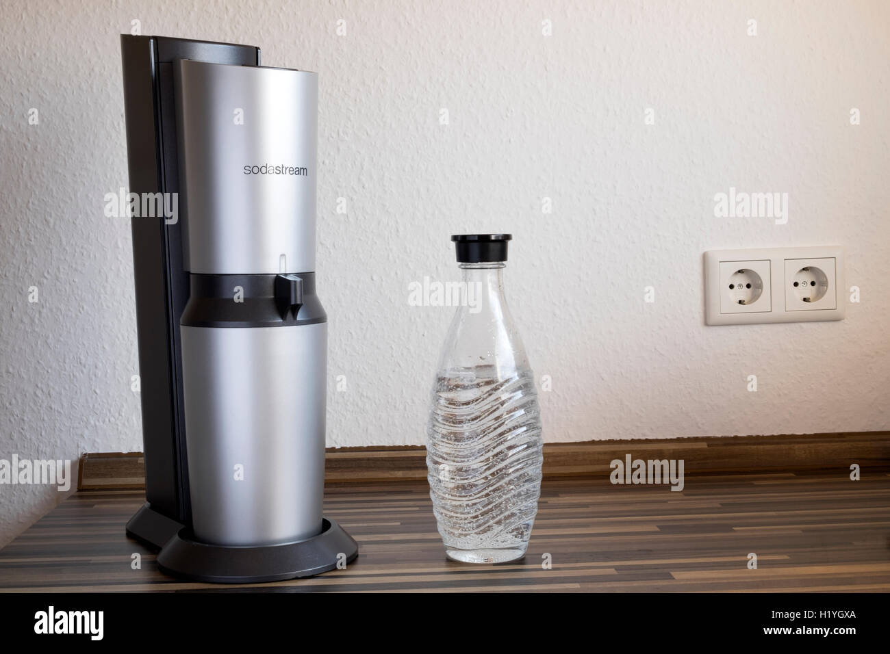 Sodastream & bottle with carbonated water - Stock Image
