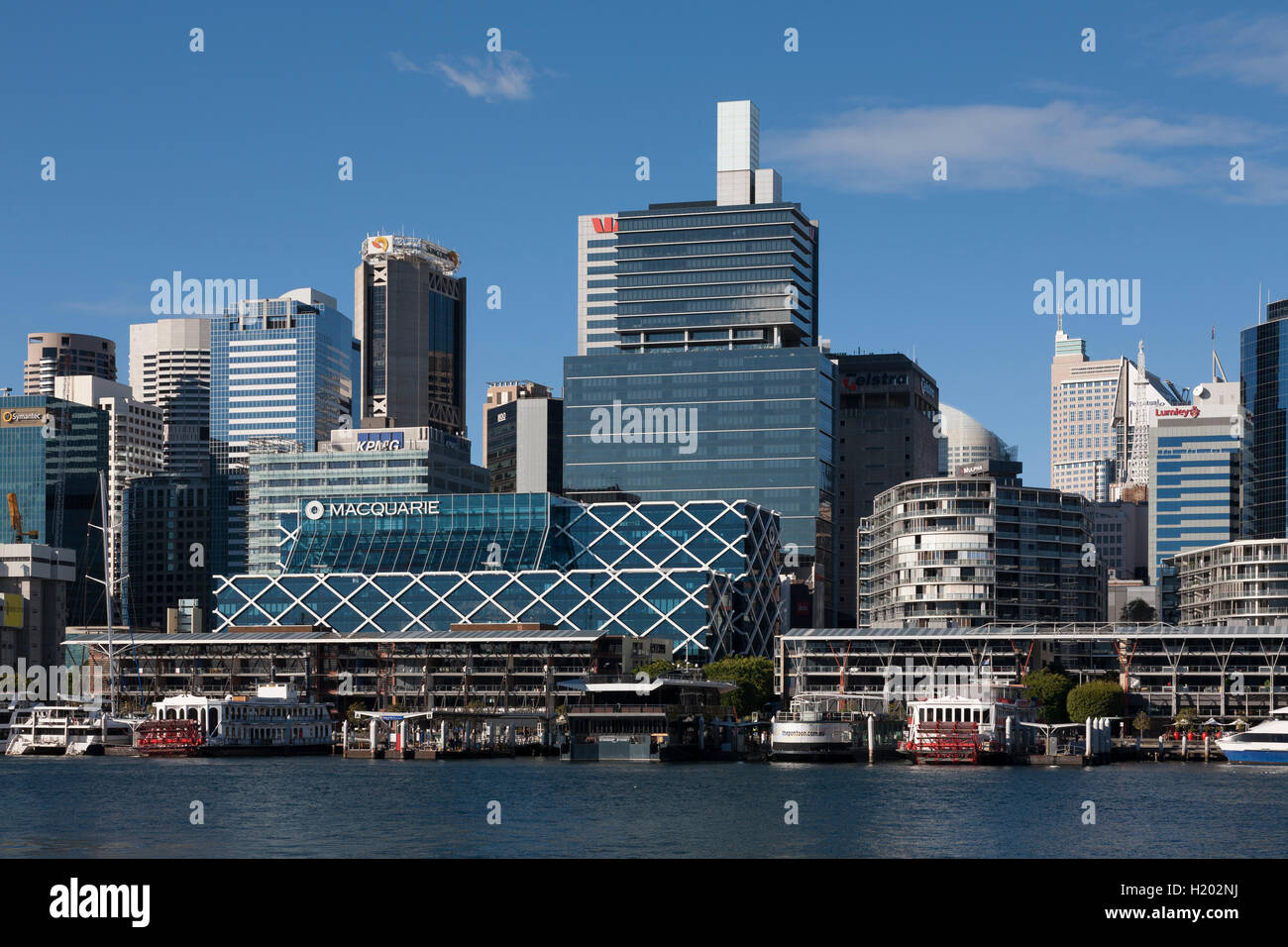 Kings wharf on a beautiful sunny day with the Macquarie Bank headquarters-Darling Harbour Sydney Australia - Stock Image