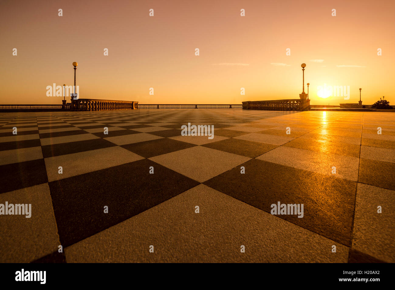 Italy, Livorno, Terrazza Mascagni at evening twilight Stock Photo ...