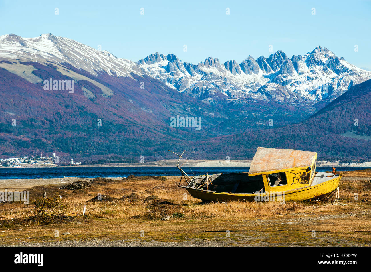 Autumn in Patagonia. Tierra del Fuego, Beagle Channel and Chilean territory, view from the Argentina side - Stock Image