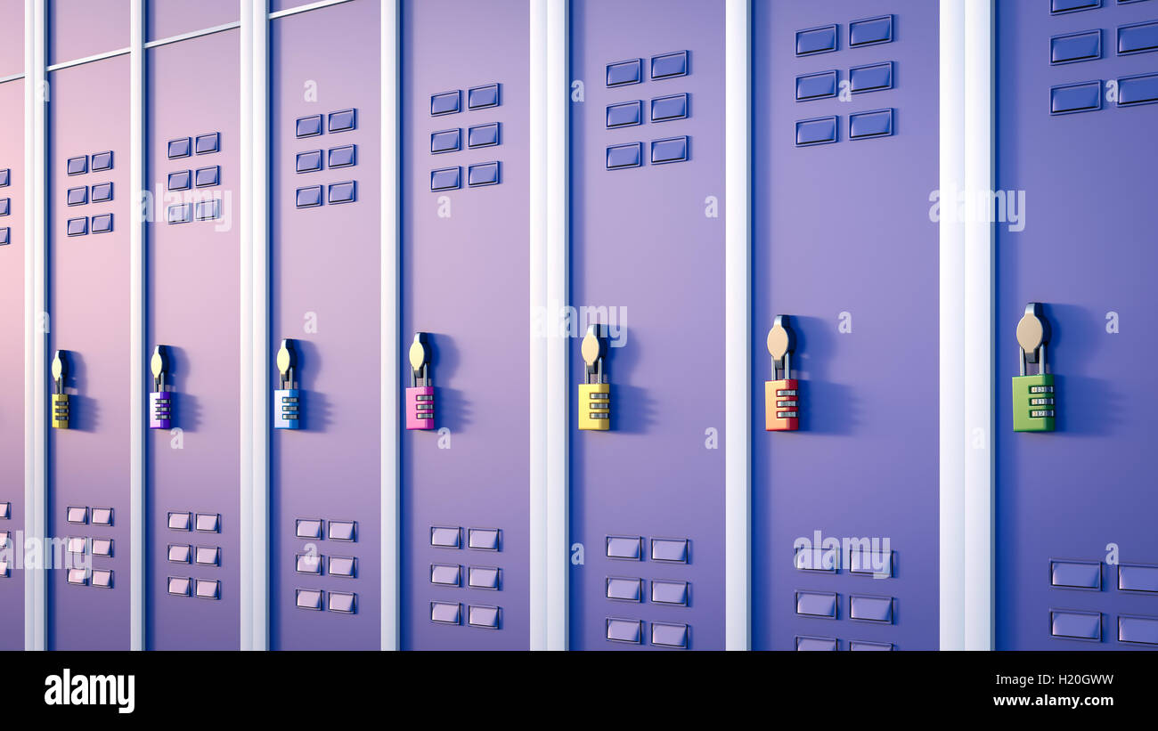Lockers with combination lock, 3D Rendering - Stock Image