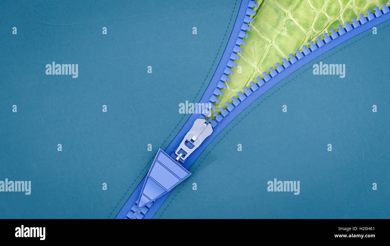 Opened zip, 3D Rendering - Stock Image