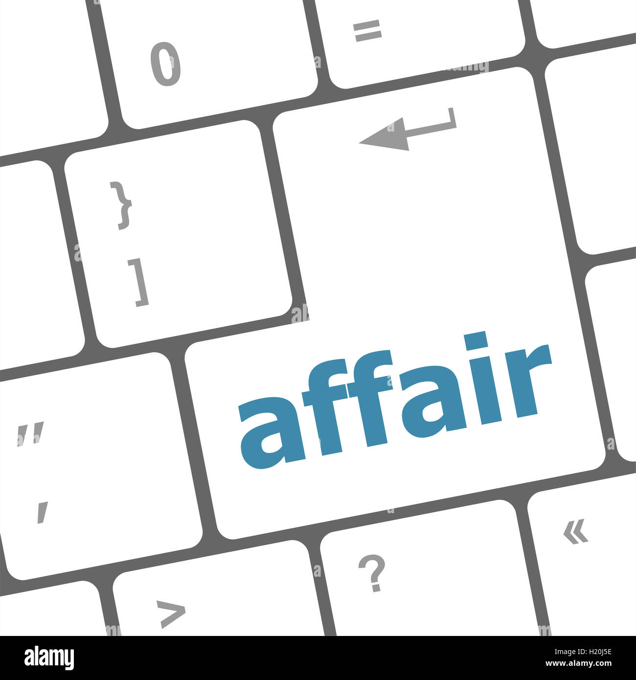 computer keyboard keys, affair word - Stock Image