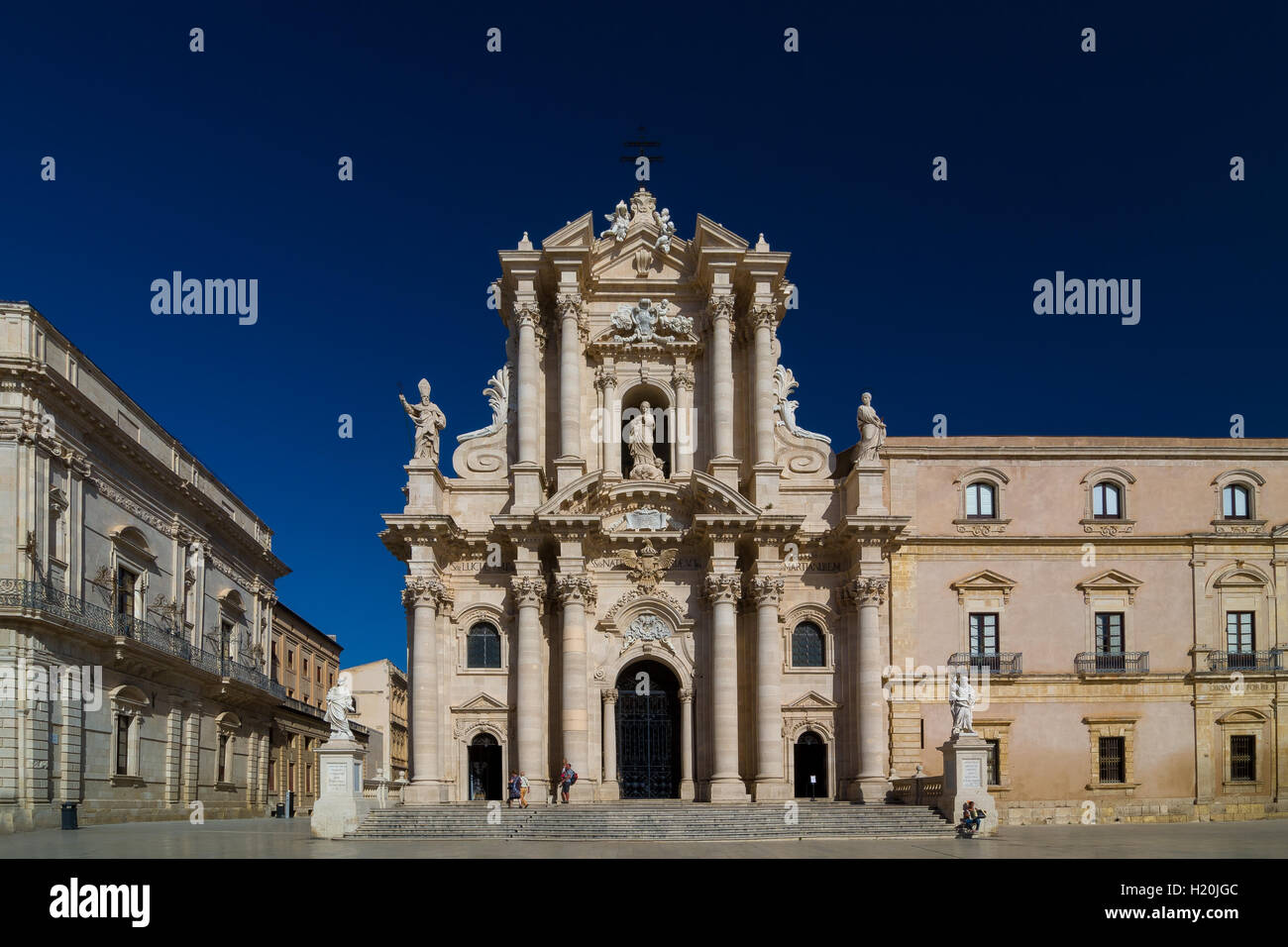 The Cathedral of Syracuse or Duomo di Siracusa is an ancient Catholic church in Syracuse, Sicily. Stock Photo