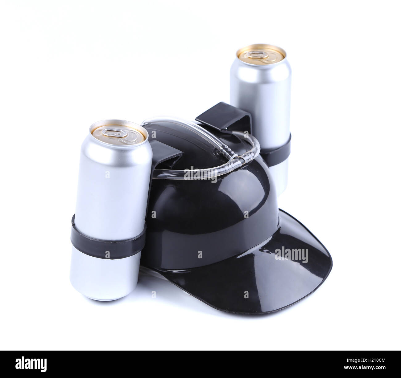 Hands free for drink black hat. - Stock Image