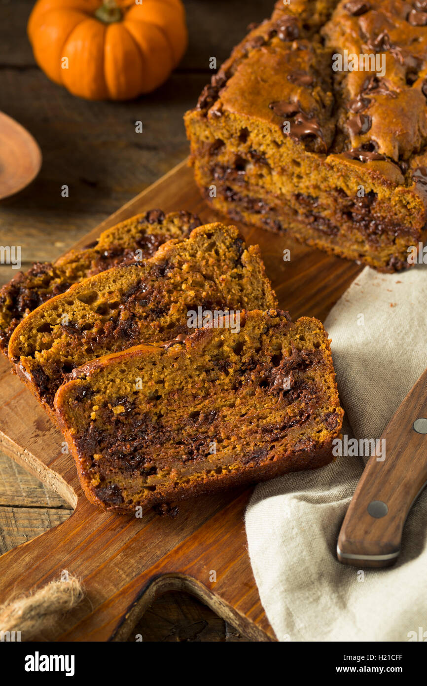Homemade Chocolate Chip Pumpkin Bread Cut Into Slices - Stock Image