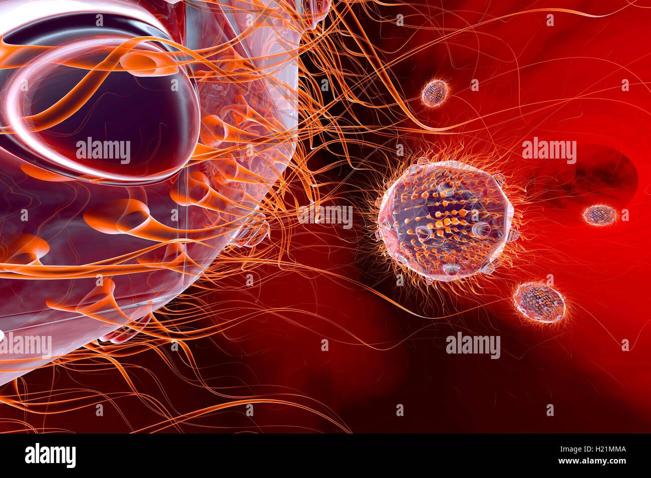 Viruses, 3D Rendering - Stock Image