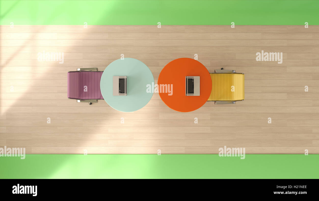 Two workspaces seen from above, 3D Rendering Stock Photo