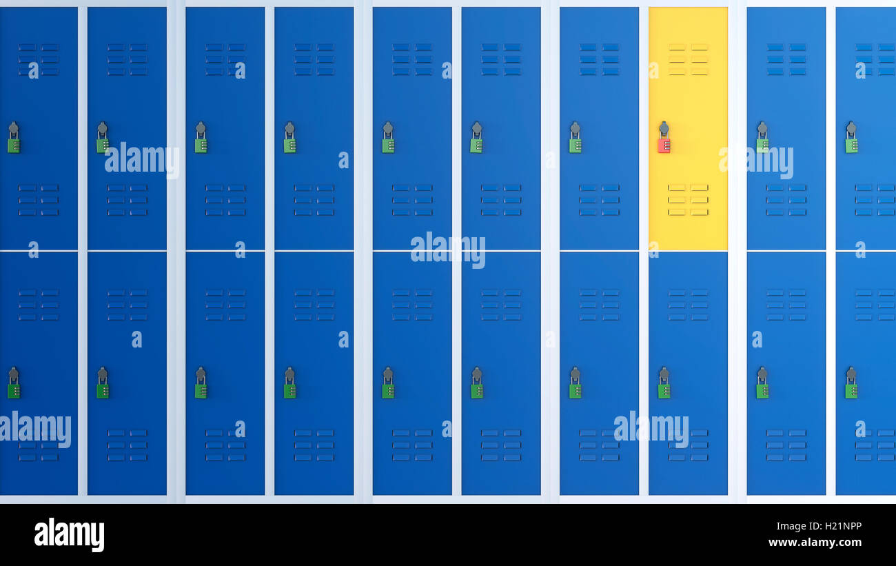 Yellow locker between rows of blue lockers, 3D Rendering - Stock Image